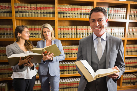 Lawyers in the law library at the university